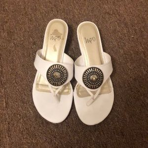 Shoes - White Sandals Shoes With Metal Emblem